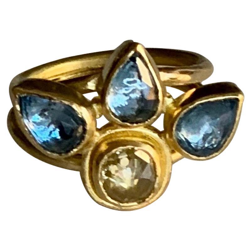 Yellow Diamond and Aquamarine Ring in 22 Karat Gold and 20 Karat Gold
