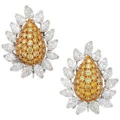 Yellow Diamond and Diamond Earrings, Van Cleef & Arpels