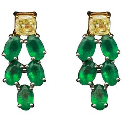 Yellow Diamond and Emeralds Earring in 18 Karat Gold