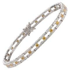 Yellow Diamond and White Diamond Bracelet