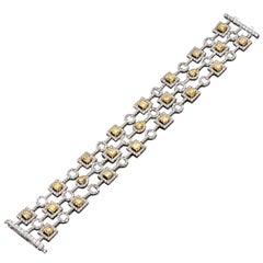 Yellow Diamond and White Diamond Geometric Bracelet