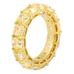 Yellow Diamond Band, Features Yellow Cushion Cut Diamonds