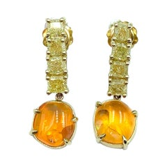 Yellow Diamond Bar and Mexican Fire Opal Dangly Earrings