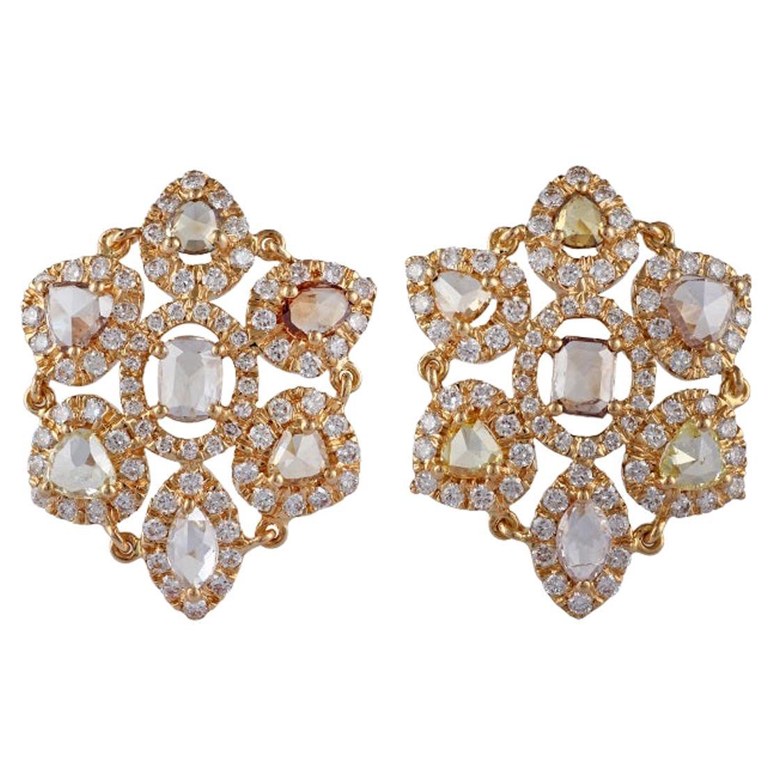 Yellow Diamond Earrings Studded in 18 Karat Yellow Gold