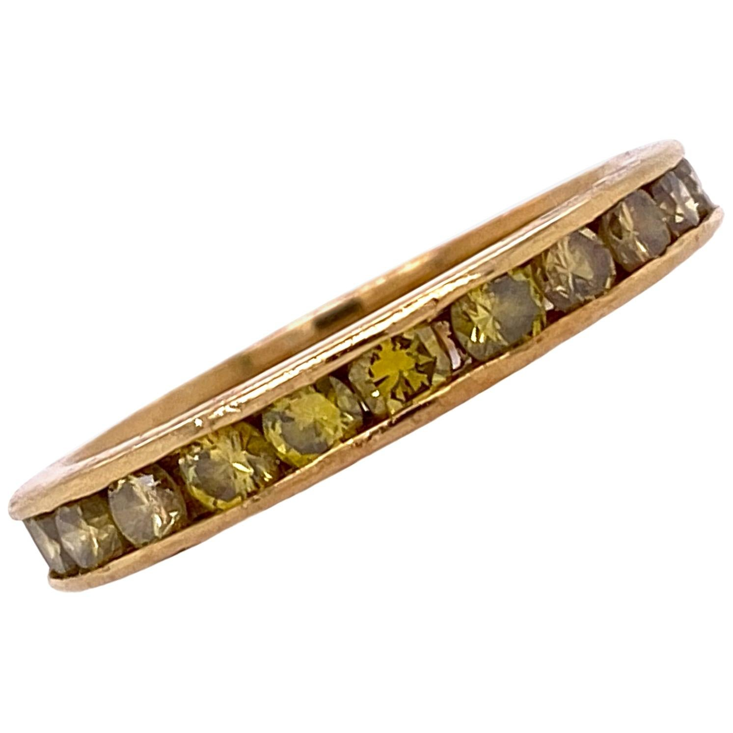 Yellow Diamond Eternity Band Ring 18 Karat Yellow Gold Wedding Anniversary