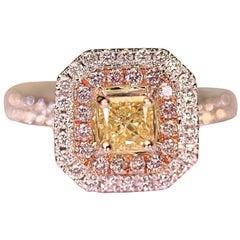 Yellow Diamond GIA Natural Fancy Intense, Pink Diamond and White Diamond Ring