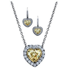 Yellow Diamond Heart Shape Dangling Earrings and Pendant Set 10.67 Carats