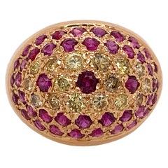 Yellow Diamond Natural Ruby 18 Karat Yellow Gold Vintage Dome Ring
