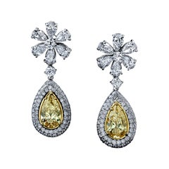 Yellow Diamond Pear Shape and Flower Dangling Earrings Platinum/18KYG GIA
