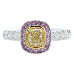 Yellow Diamond & Purple Sapphire Ring 18 Karat Two Tone Gold and Diamonds