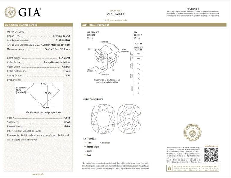 Women's Yellow Diamond Ring 1.09 Carats GIA Certified  For Sale