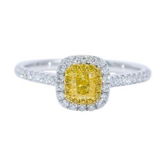 Yellow Diamond Ring 18 Karat White Gold