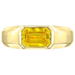 Yellow Diamond Ring Emerald Cut GIA Certified 1.04 Fancy Vivid Yellow Canary