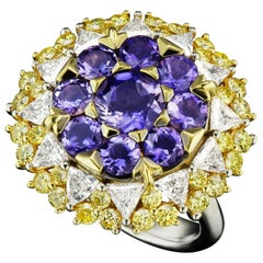 JAG New York Blue Iolite, Yellow and White Diamond in 18 Karat Ring