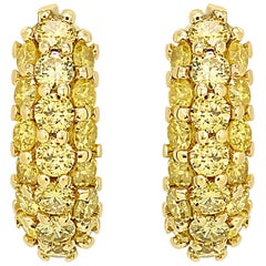 Yellow Diamond Round 1.30 Carat 14K White Gold Fashion Hoop Clip-On Earrings