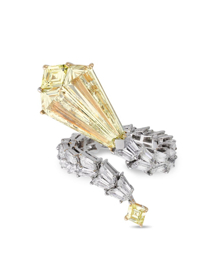 Modern Yellow Diamond Snake Ring, 4.72 Carats For Sale
