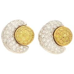 Yellow Diamond Sun and Moon Earrings in 18 Karat Gold