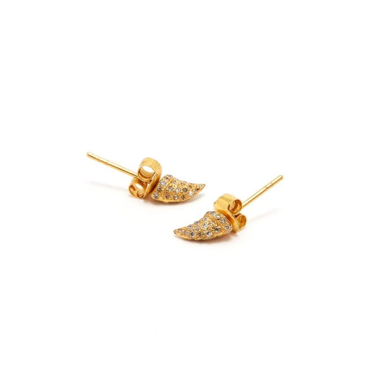 Yellow Diamond Thorns, from the thorn lab series. 18 Karat gold thorns set with yellow diamonds.  - Featuring yellow diamonds set into 18 karat gold thorn earrings  Jaipur Atelier presents the Thorn Lab Series. A collection of 18 karat rose or