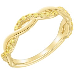Yellow Diamond Twist Band for Stackable or Wedding