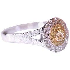 Yellow Diamond White Diamond Engagement Ring Right Hand Ring 18 Karat Two-Tone