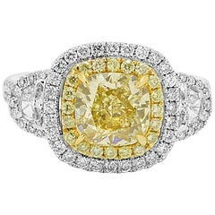 Yellow Diamond White Diamond Halo Three-Stone Bridal Fashion Two-Color Gold Ring
