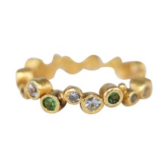 Yellow Diamond White Sapphire Tsavorite 21k - 22k Gold Cluster Bridal Ring