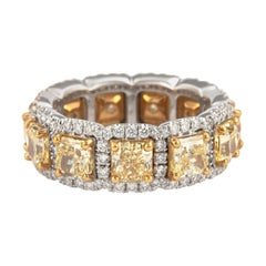 Yellow Diamond with Halo Eternity Band 'Avg 0.48 Carat Each' 18 Karat Gold