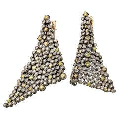 Yellow Diamonds Brown Diamonds Earrings Aenea Jewellery