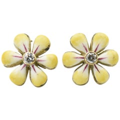 Yellow Enamel Daisy Diamond Gold Earrings by Sandra J. Sensations