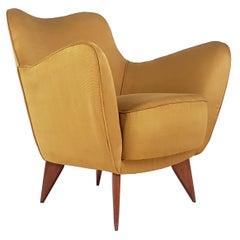 Yellow Fabric and Wood Midcentury Perla Armchair by Guglielmo Veronesi, 1952