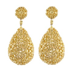 Yellow Fancy Diamond Shapes in Yellow Gold Tear Drop Earring