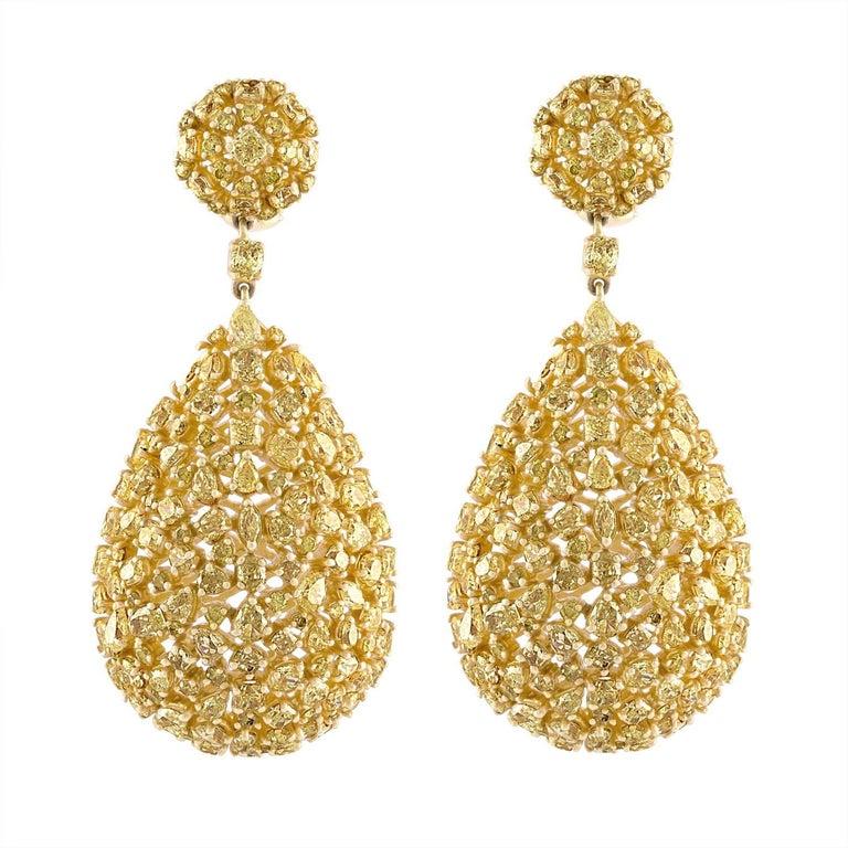 Yellow Fancy Diamond Shapes in Yellow Gold Tear Drop Earring