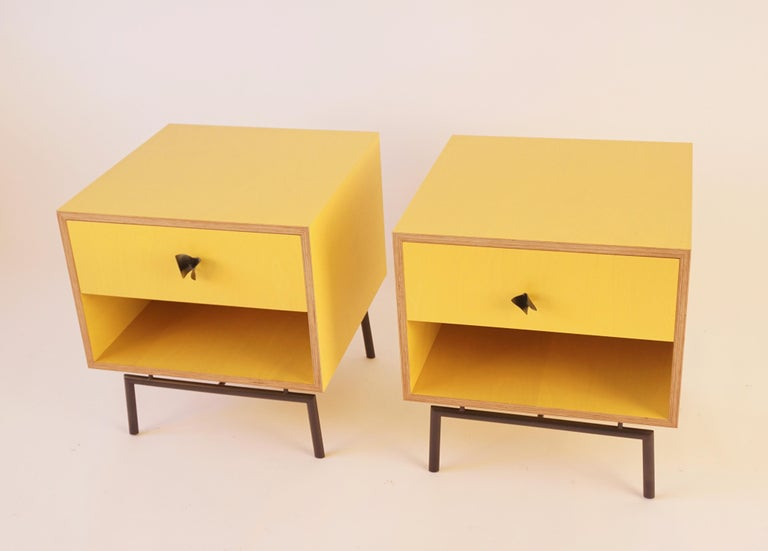 Yellow Finn Ply Bedside Tables with Bronze Base and Bronze Butterfly Pulls For Sale 3