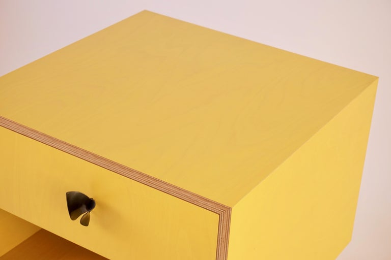 Yellow Finn Ply Bedside Tables with Bronze Base and Bronze Butterfly Pulls For Sale 4