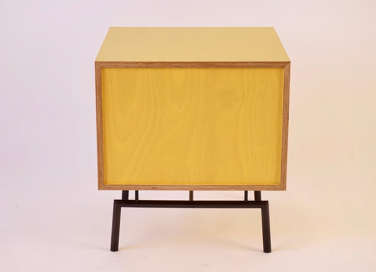 Yellow Finn Ply Bedside Tables with Bronze Base and Bronze Butterfly Pulls For Sale 5