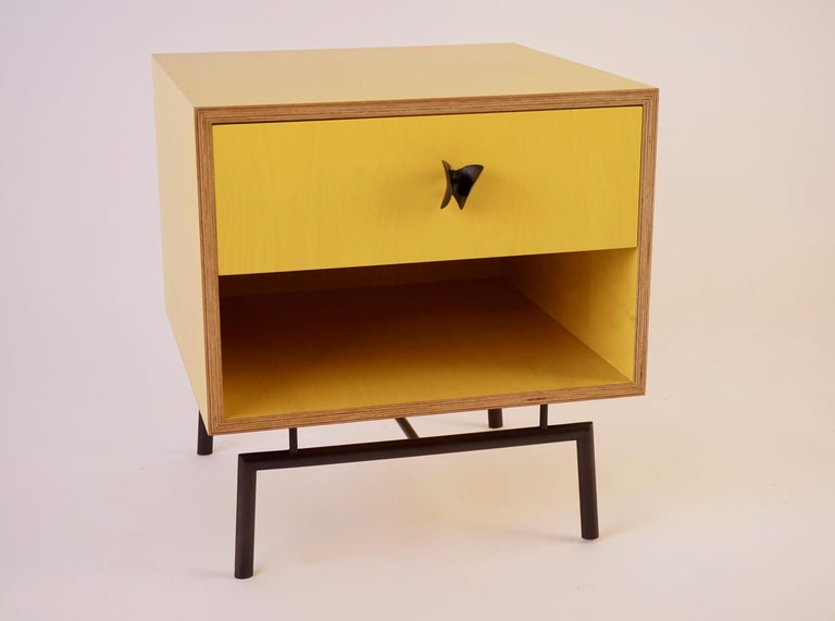 American Yellow Finn Ply Bedside Tables with Bronze Base and Bronze Butterfly Pulls For Sale