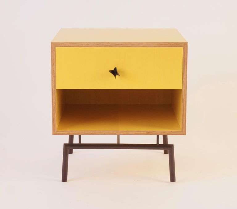 Blackened Yellow Finn Ply Bedside Tables with Bronze Base and Bronze Butterfly Pulls For Sale