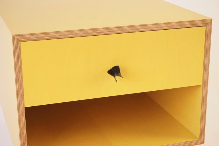 Contemporary Yellow Finn Ply Bedside Tables with Bronze Base and Bronze Butterfly Pulls For Sale