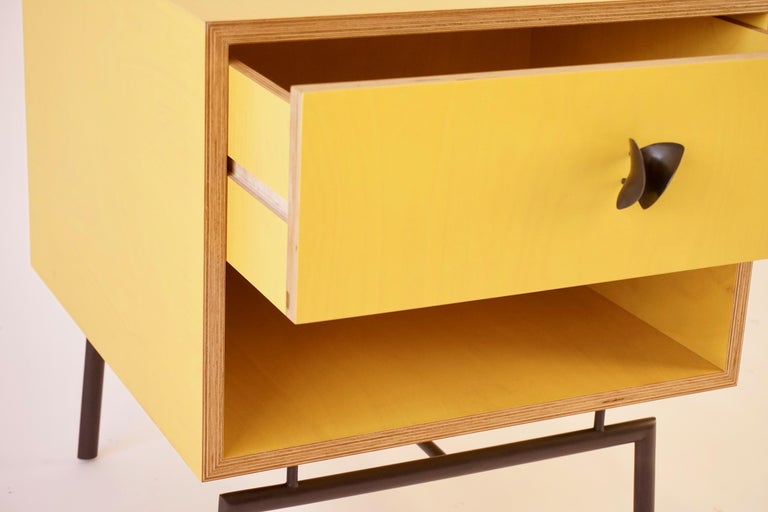 Yellow Finn Ply Bedside Tables with Bronze Base and Bronze Butterfly Pulls For Sale 2