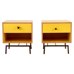 Yellow Finn Ply Bedside Tables with Bronze Base and Bronze Butterfly Pulls