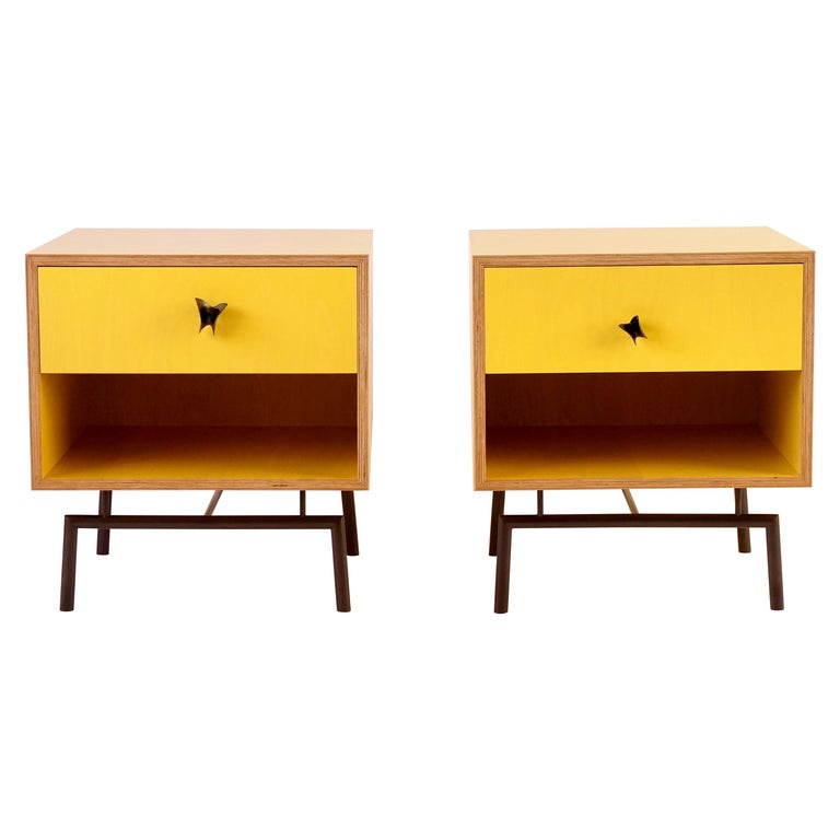 Yellow Finn Ply Bedside Tables with Bronze Base and Bronze Butterfly Pulls For Sale