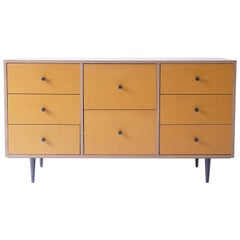 Yellow Finn-Ply Cabinet with Bronze Pulls and Turned Bronze Legs