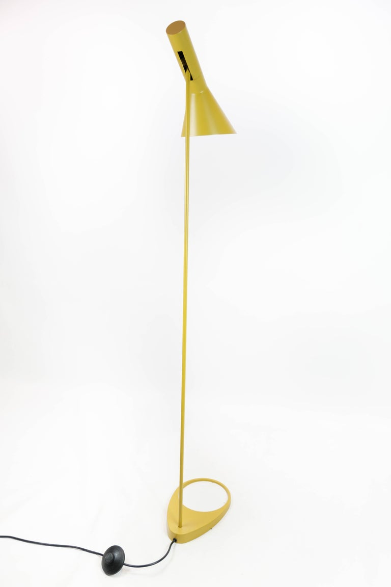 Metal Yellow Floor Lamp Designed by Arne Jacobsen and Manufactured by Louis Poulsen For Sale
