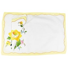 Yellow Floral Fabric Placemats and Napkins, Set of 5 Napkins 6 Placemats