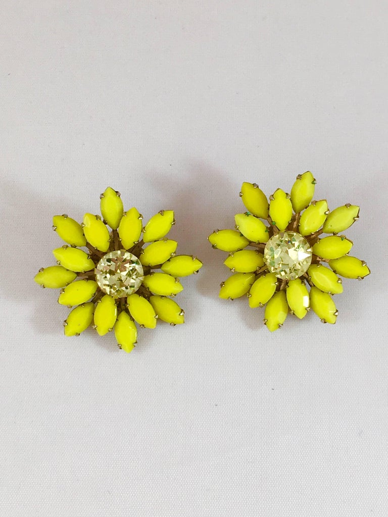 Yellow Flower Earrings Weiss 1960s At 1stdibs