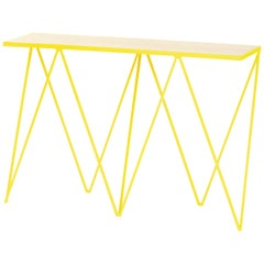 Yellow Giraffe Console Table with Natural Birch Plywood Table Top