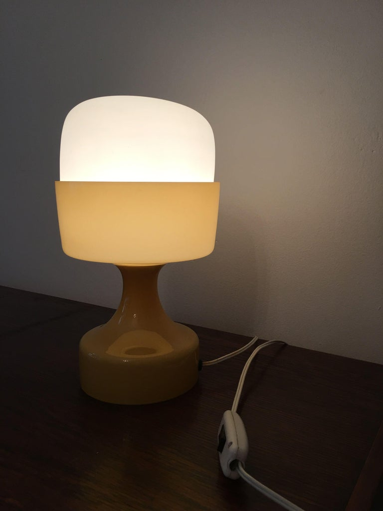 Yellow Glass Table Lamp By Ivan Jakes 1960s At 1stdibs