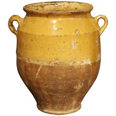 Yellow Glazed Antique French Terracotta Confit Pot, 19th Century