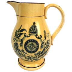Yellow Glazed Staffordshire Pottery Brazil Independence Pitcher, circa 1825