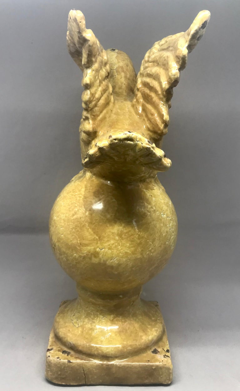 20th Century Yellow Glazed Terracotta Bird Sculpture